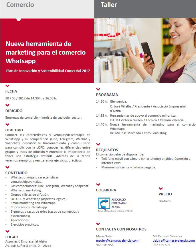 taller whatsapp Camara Comercio Alzira 10_05_2017